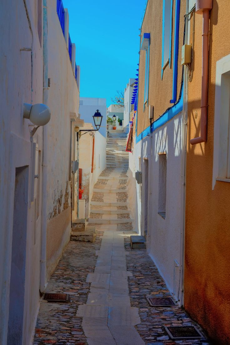 Traditional narrow streets on Syros island