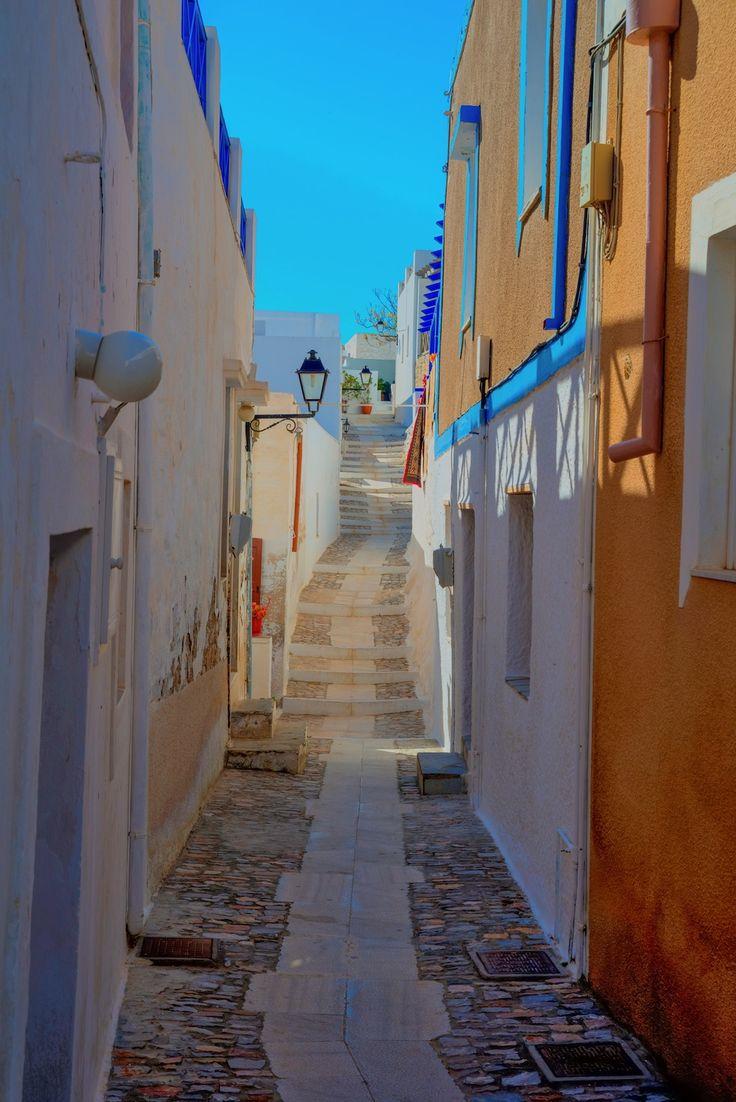 Traditional narrow streets on Syros island