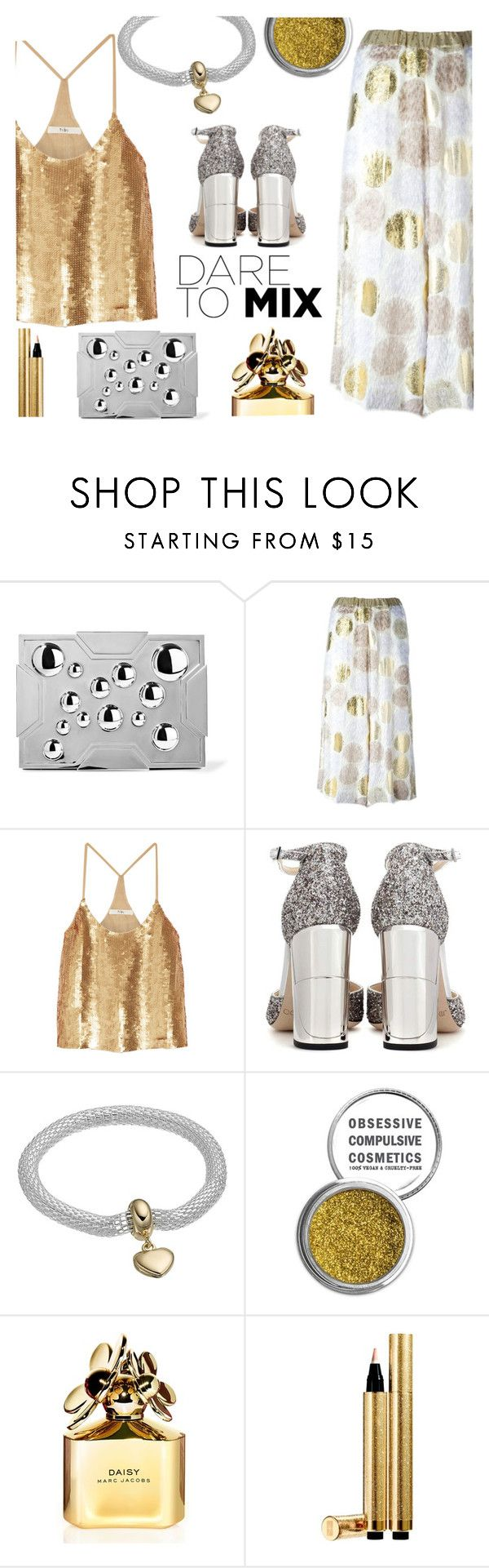 """Dare to mix gold and silver"" by juliehalloran ❤ liked on Polyvore featuring Lee Savage, Antonio Marras, TIBI, Jimmy Choo, Obsessive Compulsive Cosmetics, Marc Jacobs and Yves Saint Laurent"