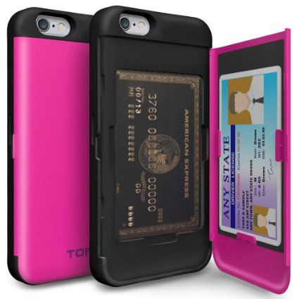 Amazon.com: iPhone 6S Case, TORU [CX PRO] iPhone 6 Wallet Case - [CARD SLOT][ID HOLDER][KICKSTAND] Protective Hidden Wallet Case with Mirror for iPhone 6/6S - Hot Pink: Cell Phones & Accessories