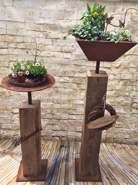 Alter Holzbalken mit Edelrostschale zum Pflanzen Jetzt machen Sie den Garten schön
