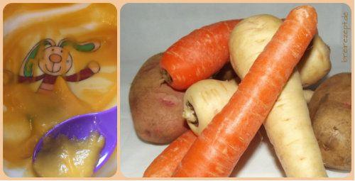 Rezept für Wurzelgemüsebrei mit Hühnchen: ein Babybrei aus Karotte, Pastinake und Petersilienwurzel, dessen mild-süßen Geschmack Babys gern mögen