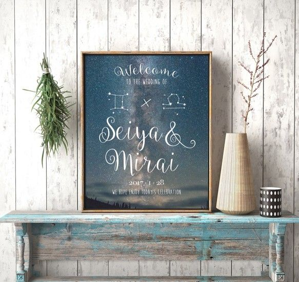 『冬支度ハンドメイド2016』おふたりの星座を入れてお作りします♪メッセージ内容やフォント・色などを自由にカスタムすることが可能なので結婚式のウェルカムボードとしてだけではなくお部屋のインテリアやお店のサイン、プレゼントにもどうぞ。Creemaで出品されているウェルカムボードは家庭用プリンターを使用し印刷したウェルカムボードが多い中、当ストアは全て印刷会社での印刷・発送を行うためクオリティの高い商品となっています:) !!!▼サイズと納期について送料選択時にサイズ/納期/印刷方法をお選びください。<パネル印刷の場合>A2/B3/A3/B4/A4/B5/A5(大きい順)厚さ7mmのスチレンパネルに余白無しで印刷するためパネル印刷がおすすめ!額縁が必要なくイーゼルや額縁にそのまま立てかけられます。パネル印刷ご希望でお急ぎ作成希望の場合は別途下記金額が必要となります。3週間納期:500円2週間納期:1,000円1週間納期:1,500円下記オプションを一緒にご購入ください。http:/&...