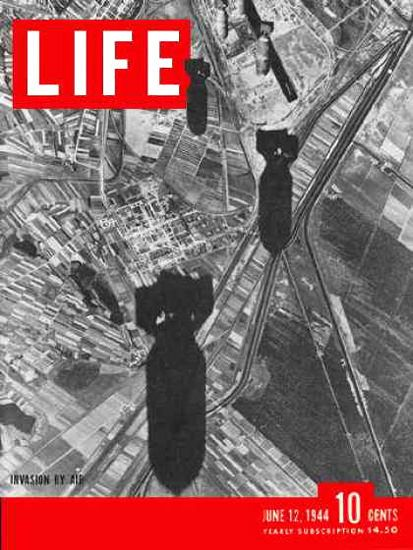 Life Magazine Copyright 1944 Bombs Over Europe Invasion - Mad Men Art: The 1891-1970 Vintage Advertisement Art Collection