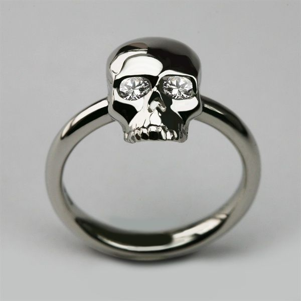 This is EXACTLY what I have wanted forever!!!     Bespoke Small Skull Ring in Platinum with Diamond Eyes. www.StephenEinhorn.co.uk