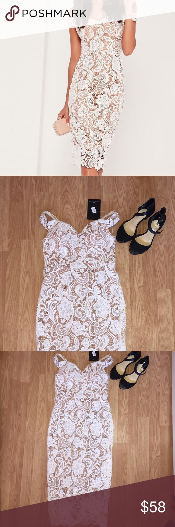 Missguided white dress Gorgeous dress. Perfect for graduation. Size  S Missguided Dresses Midi