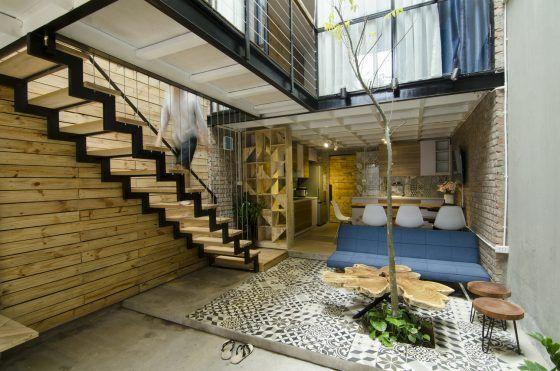 Diseño de pequeña sala rústica moderna
