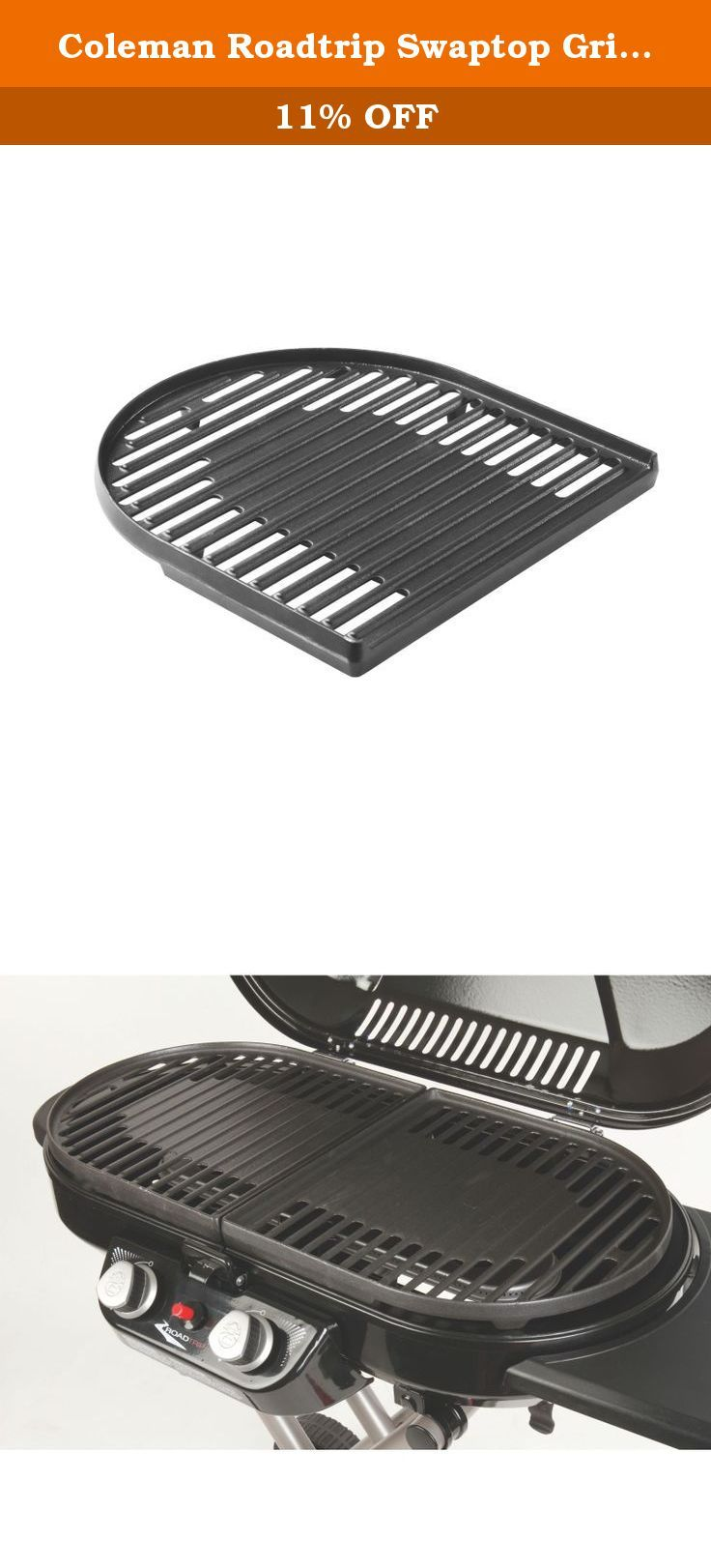 Coleman Roadtrip Swaptop Grill Grate. The Coleman Roadtrip Swaptop Grill Grate fits all LX family grills including 9941, 9944, and 9949 models. Made from porcelain coated cast iron construction this grill grate will last you a very long time. Easily swaps out with other grill grate accessories, and is also easy to clean. A much needed grilling accessory for your next roadtrip.