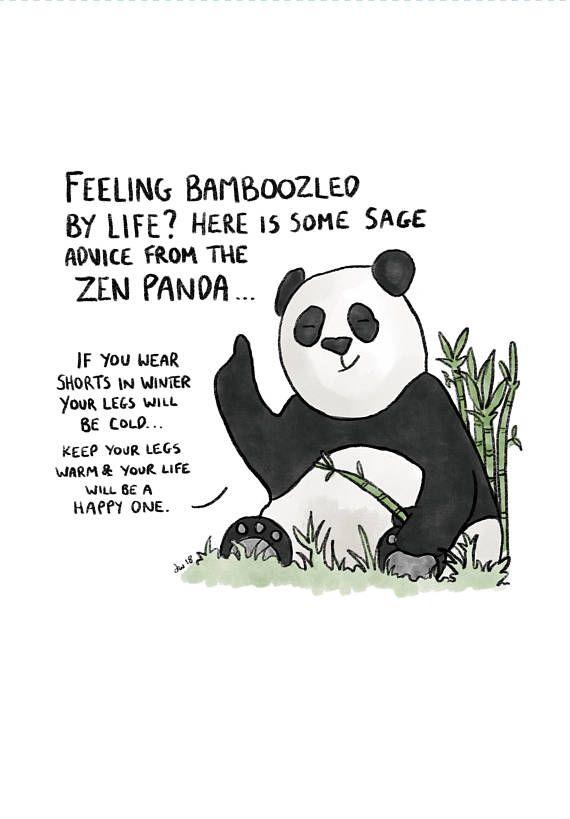 Zen Panda Art Print Cute Panda Inspirational Quotes