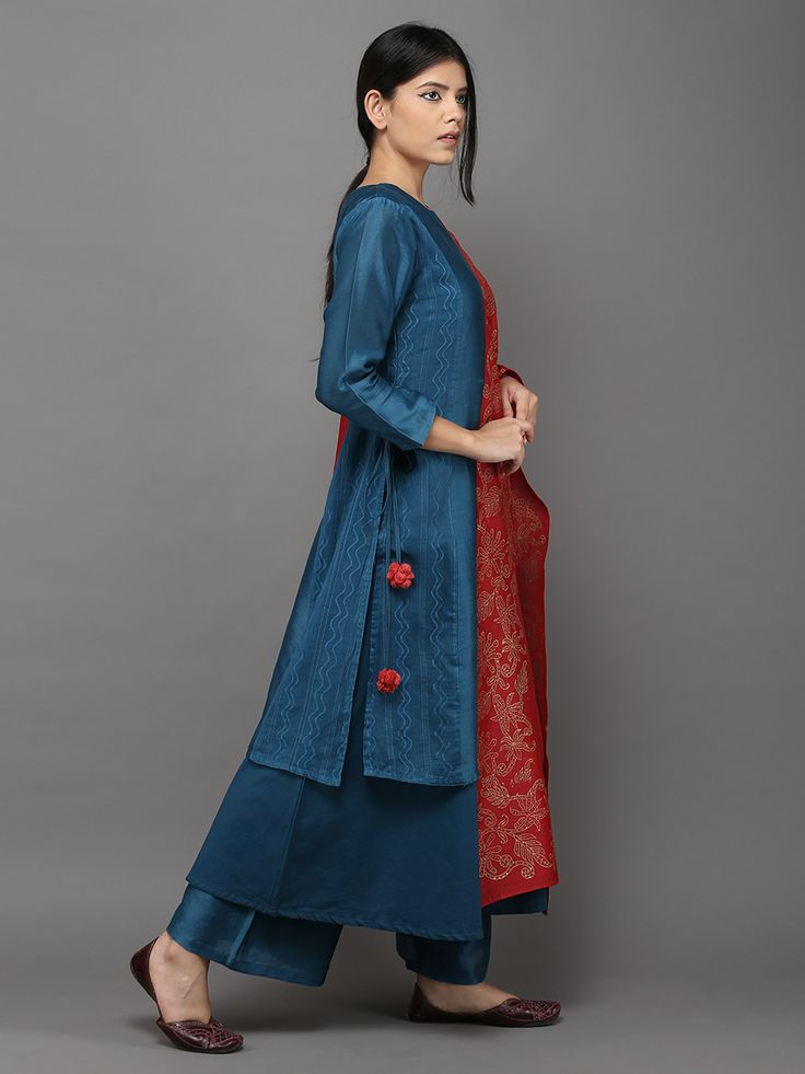"Description: Chanderi kurta with self woven pattern panels. Kurta length - 45"" ; Lining Length - 50"" Size Chart - These are body measurements. XS - Chest : 32."
