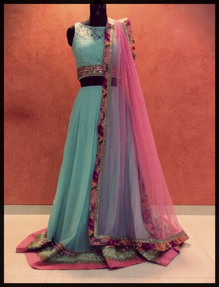 Go pastel...in this beautiful aqua blue lehenga with pink dupatta