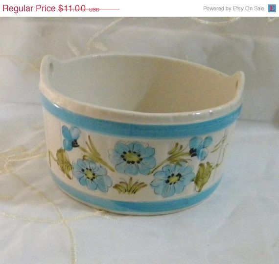 CYBER SALE Vintage 1980 FTD Floral Bowl, Planter, Candy Dish, Made in Portugal Have this in pink!