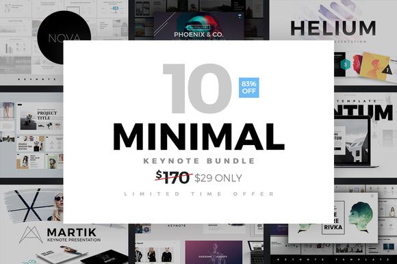 Minimal Keynote Bundle Template by Slidedizer on @creativemarket