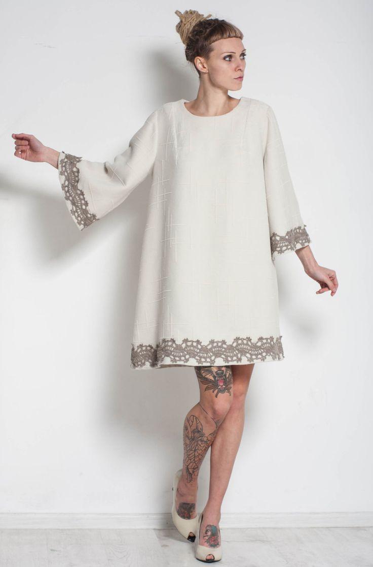 Ivory formal dress Lacy Crochet dress Ivory flared long sleeves dress retro mini evening dress special occasion dress oversize white Dress by CrochetDressTalita on Etsy
