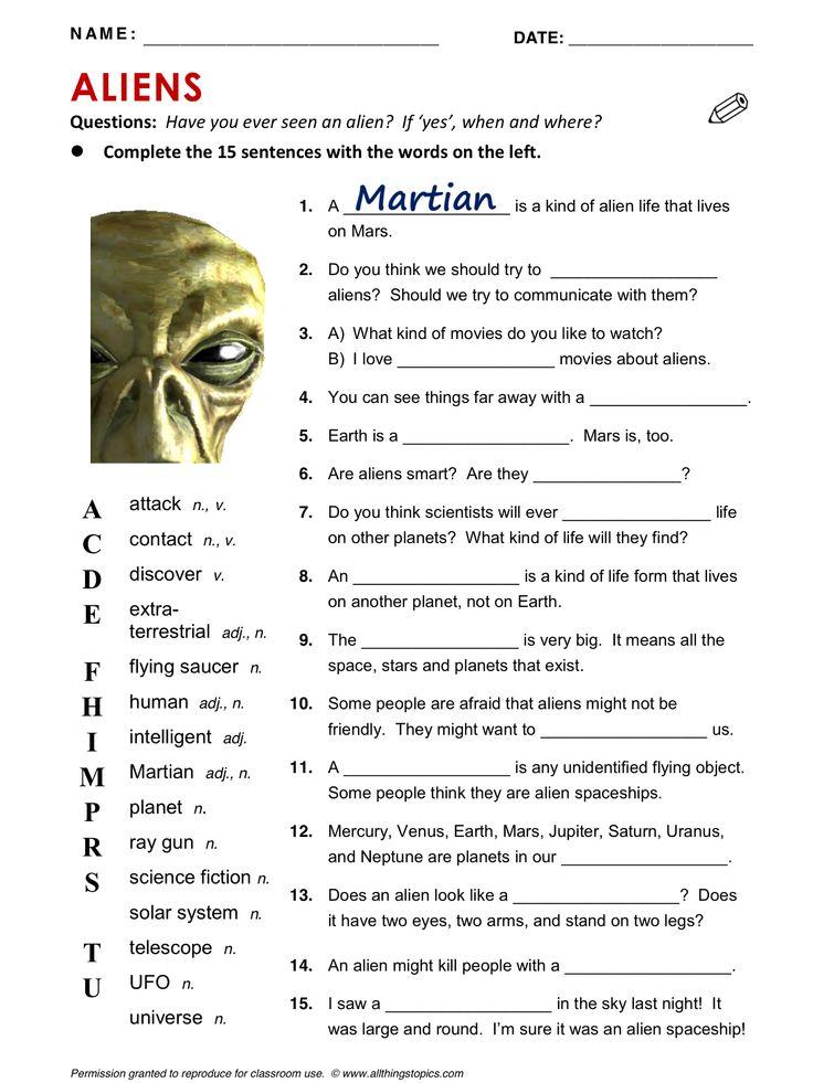 Aliens, vocabulary, ESL, English phrases, http://www.allthingstopics.com/aliens.html