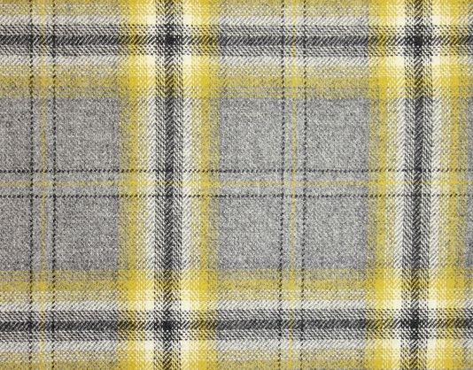 Morlich Wool Fabric A grey, chartreuse yellow and black large check tartan wool fabric.