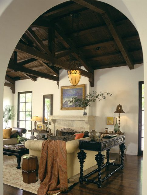 Way-dark ceiling from another angle.  Mediterranean Classic - mediterranean - living room - los angeles - Tommy Chambers Interiors, Inc.
