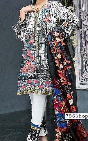 White/Black Lawn Suit | Buy Gul Ahmed Pakistani Dresses and Clothing online in USA, UK