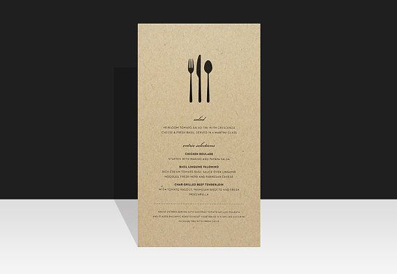 Simple Wedding Menu  Modern & Urban Wedding van Paperee op Etsy, $3.00