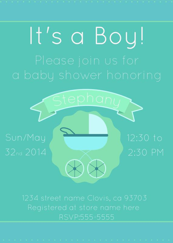 Baby Shower Its A Boy Invitation With Blue And Mint Baby