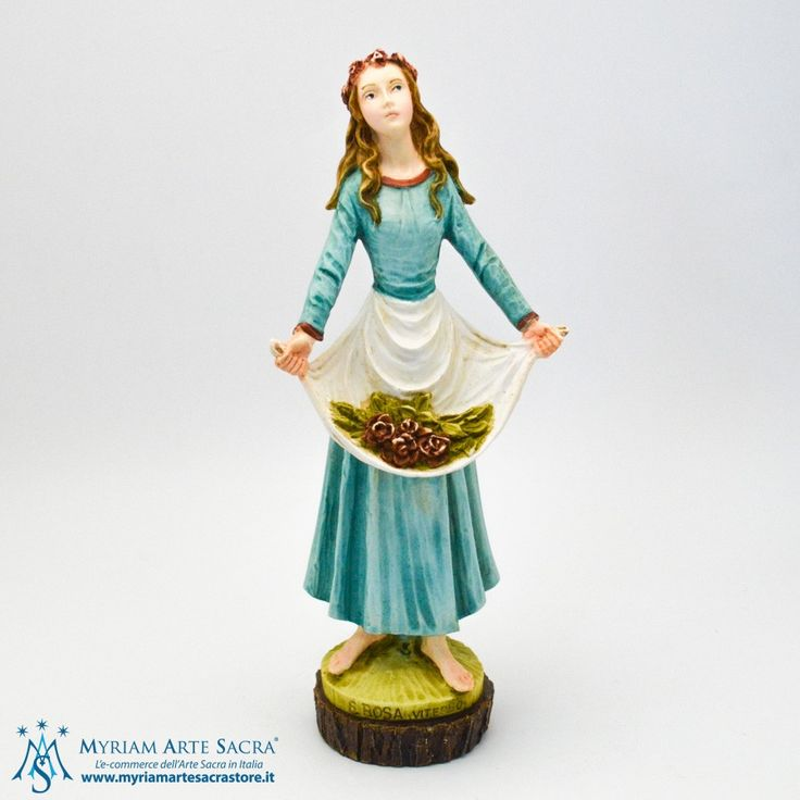 Statua Santa Rosa da Viterbo realizzata in resina. Dipinta interamente a mano. La statua è un prodotto made in Italy. Scatolata. H 25 CM #santarosa