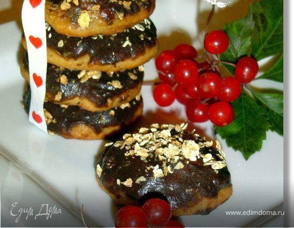 Мягкое печенье с бананом и творогом. Ингредиенты: овсяные хлопья, творог, бананы