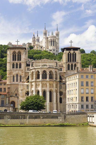 Cathedral Saint Jean and Basilica Notre-Dame de Fourvière, Lyon, France