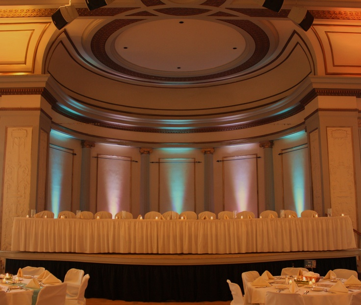 Light Blue And Pink Uplighting Provided By All Star Music At The University Of