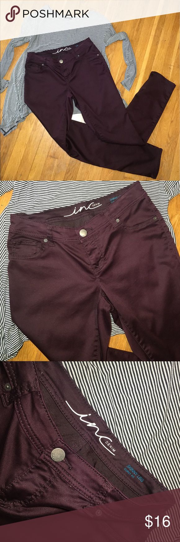 """INC skinny leg curvy fit burgundy pants size 6 INC skinny leg curvy fit burgundy pants size 6. Looser fit through the thighs to fit curvier bodies. 6.5"""" leg opening, 8"""" front rise, 32"""" inseam INC International Concepts Pants Skinny"""