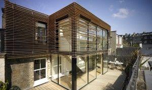 Velfac window showing horizontal wood cladding