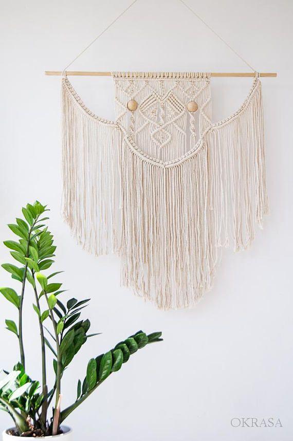 Boho Macrame wall hanging, Bohemian wall art, Macrame wall decor, Macrame Curtain, Wall Tapestry, Modern Macrame, Beaded