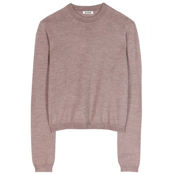 Acne Studios Adore Merino Wool Sweater ($174) ❤ liked on Polyvore featuring tops, sweaters, shirts, khaki brown melange, acne studios, slim fit shirt, slimming tops, shirts & tops and slim fit sweater