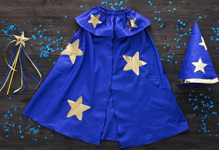 Wizard of Oz - Wizard cape with gold applique stars, wizard hat with gold applique stars, wizard star wand