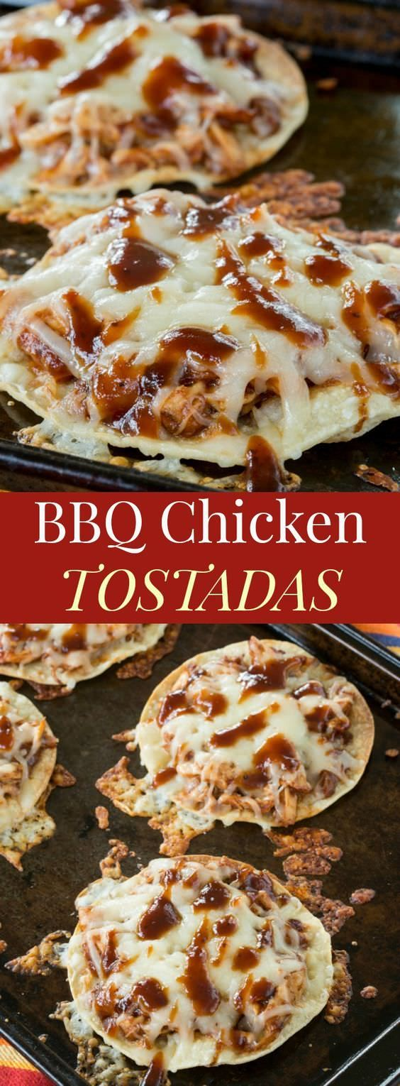 BBQ Chicken Tostadas are a quick and easy recipe everyone will love. Use your favorite barbecue sauce and cheese.