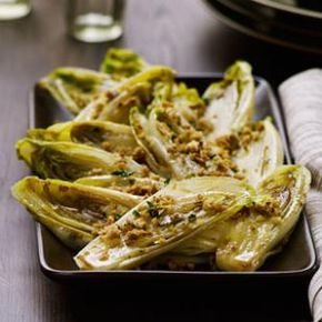 Braised Endive Recipe @ Eatingwell (November/December 2012): olive oil, fresh bread crumbs, parsley, butter, endive, broth, garlic, thyme, sugar, salt
