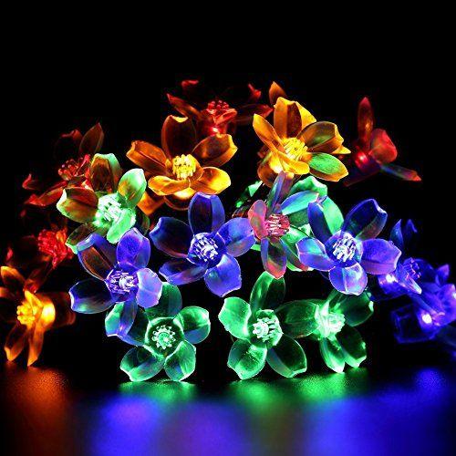 fetta outdoor solar flower fairy string lights 50 leds 21ft waterproof blossom fairy christmas lights with - Flower Christmas Lights