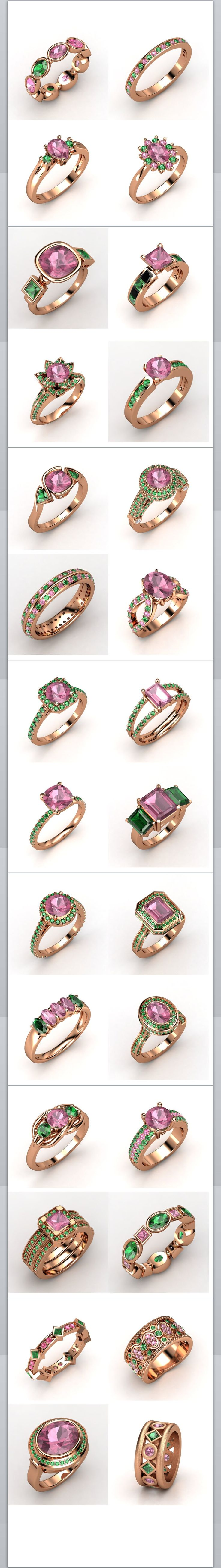 Pink and green gemstone rings w/ rose gold settings