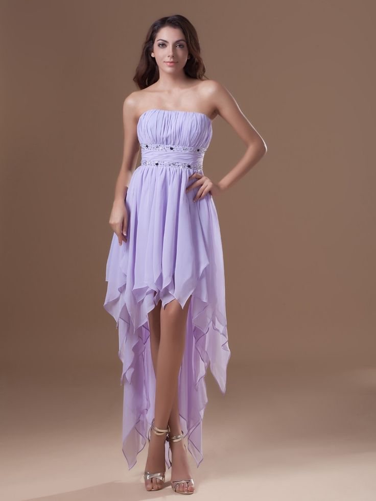 Chiffon Strapless High-low Beading A-line Party/Cocktail Dress at nextdress.co.uk