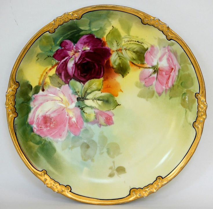 LIMOGES HAND PAINTED ROSES PLATE