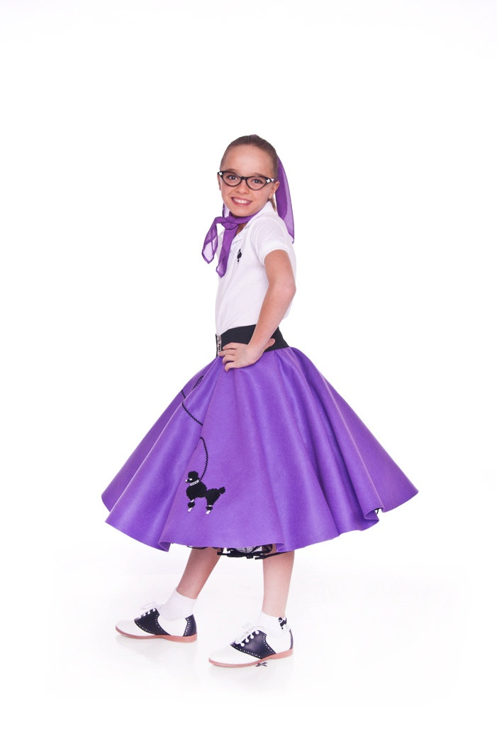 Girls 50 S Poodle Skirt Purple Medium Child Size 7 8 9
