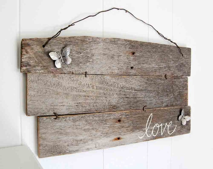 upcycled shabby chic sign Love wall decor butterfly by OldNewAgain