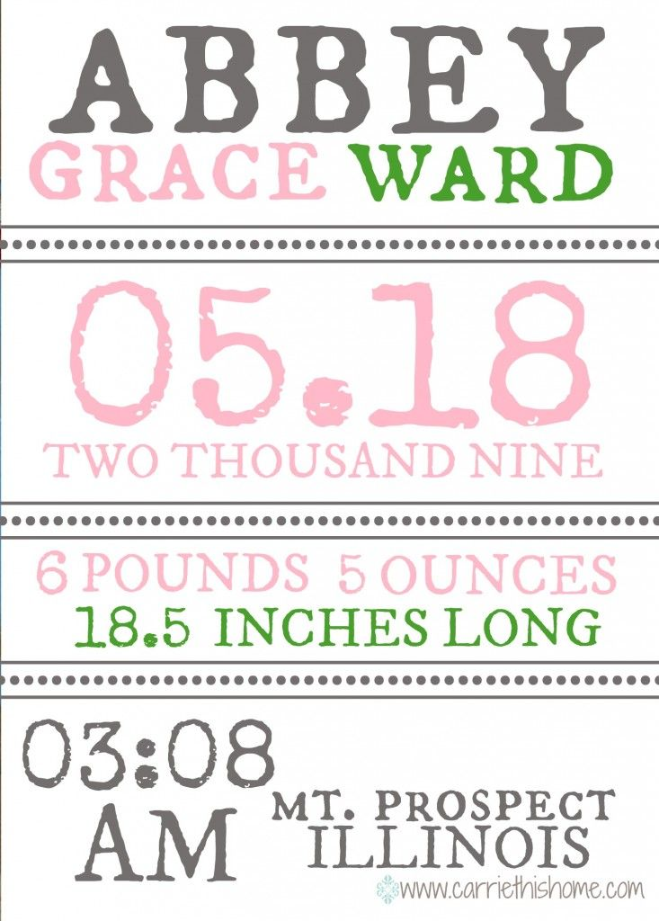 93 best Birth Announcements - DYI images on Pinterest | Pregnancy ...