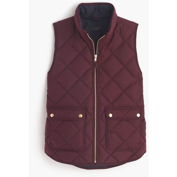J.Crew Excursion Quilted Vest featuring polyvore, women's fashion, clothing, outerwear, vests, j.crew, jackets, tops, slim vest, pocket vest, down vest, lightweight quilted vest and quilted down vest