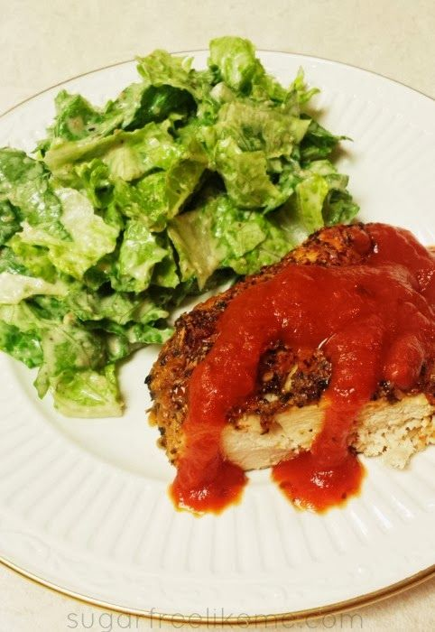 Low Carb Pizza Chicken. Lots of great recipes and advice on her blog.