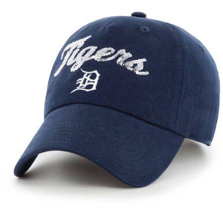 MLB Detroit Tigers Mass Sparkle Cursive Cap - Fan Favorite, Blue