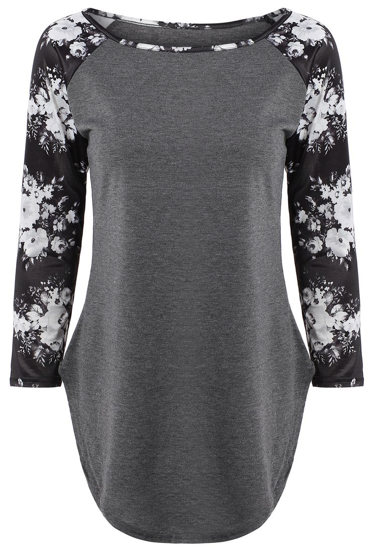 $12.57 Floral Print Long Sleeve Slit T-Shirt - Gray