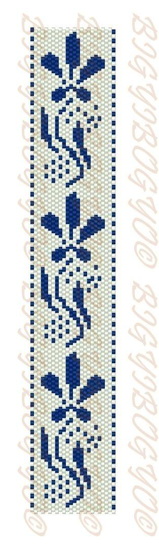 Bigyibogyó: Gyöngyszövés- és peyote minták - kékfestő és virág