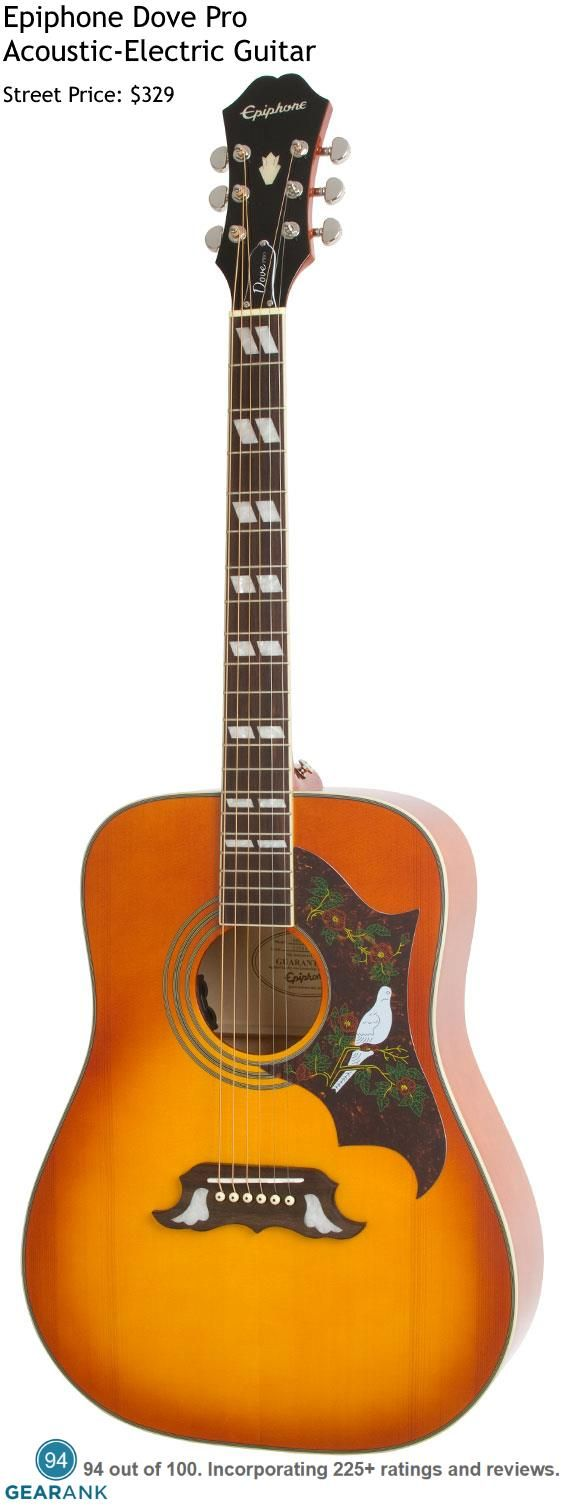 Epiphone Dove Pro. This is the highest rated acoustic-electric guitar in the $300 to $500 price range. For a detailed guide to acoustic guitars see https://www.gearank.com/guides/acoustic-guitars