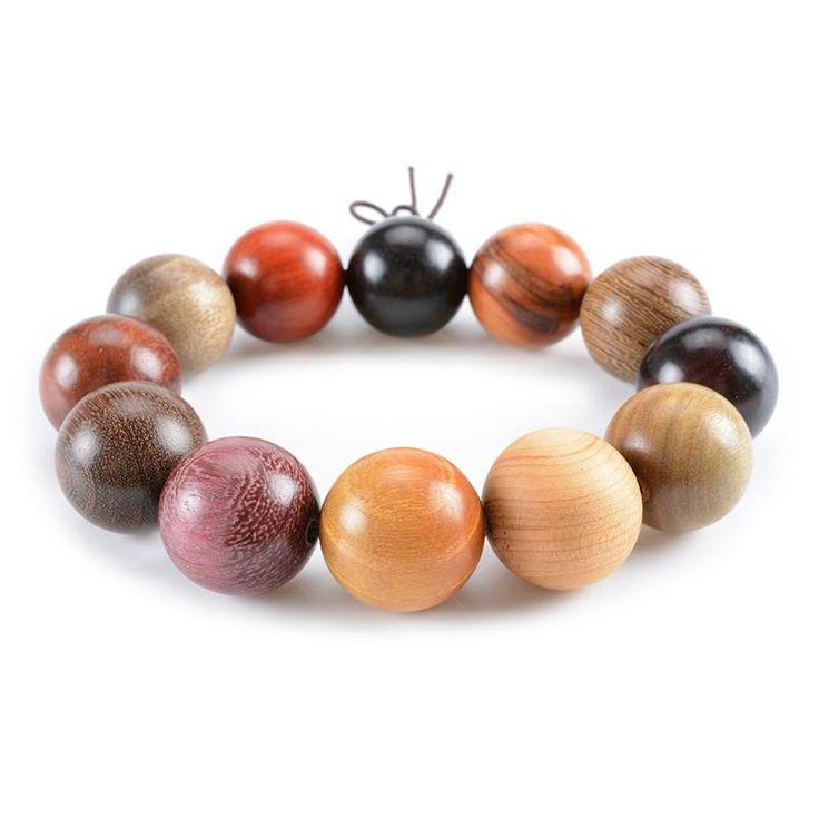 Simple Style Multicolor Round Wood Prayer Beads Bracelet