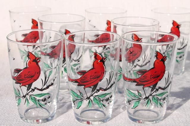 Vintage Drinking Glasses, Christmas Red Cardinals Bird